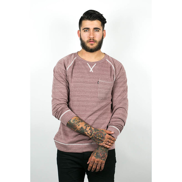 Men's Wolf & Man  Mundo - Oxblood raglan pull over