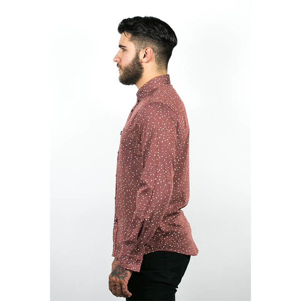 Men's Wolf & Man  Nami - OX blood speckled polka dot shirting