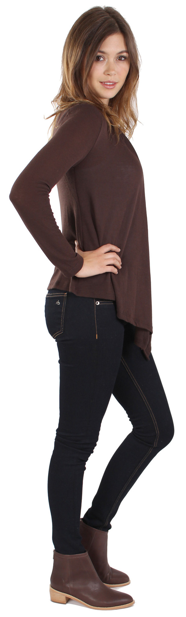 Michael Farrell Basic Cardigan in Brown