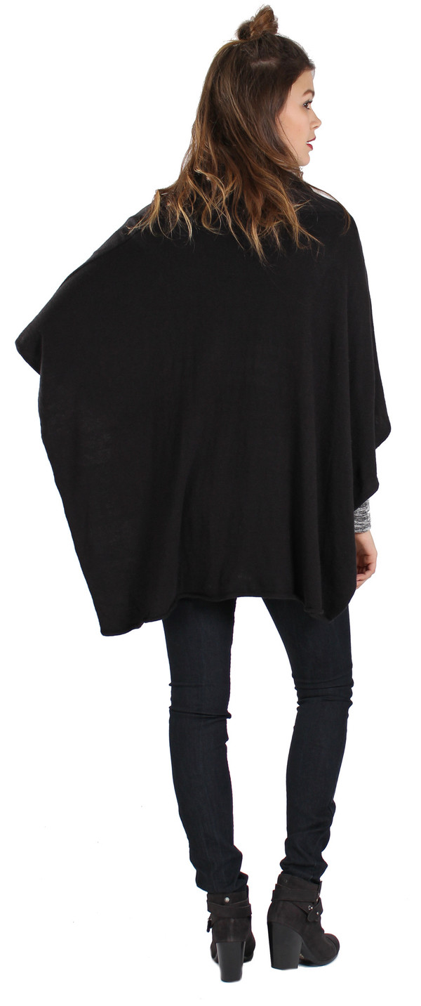 Michael Farrell Cowl Poncho in Black