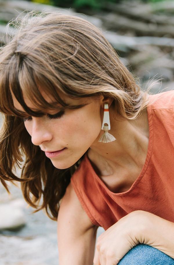 Gamma Folk Tassel Earrings - Speckled