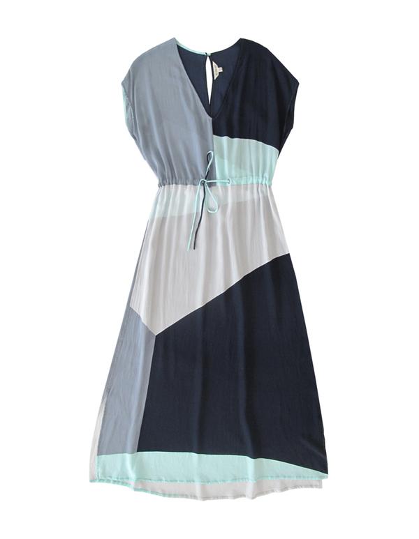 ALI GOLDEN DRAWSTRING DRESS - BLUES