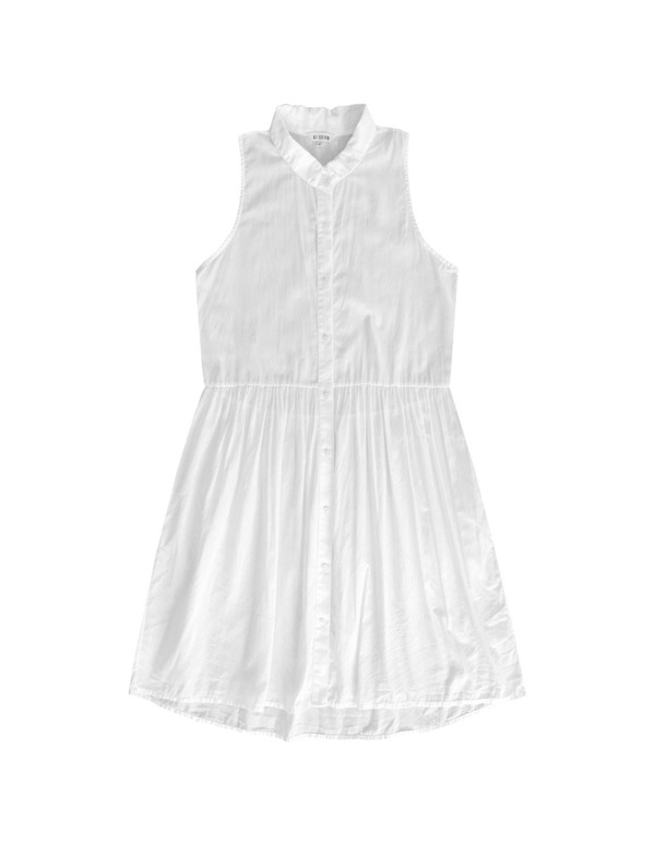 ALI GOLDEN BUTTON-UP DRESS - WHITE