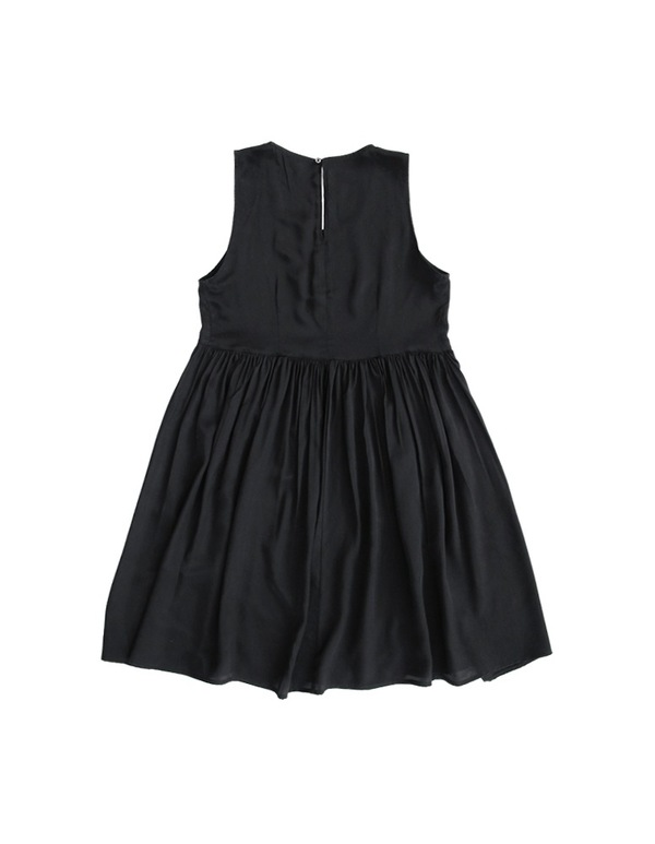 ALI GOLDEN SIDE-GATHERED DRESS - BLACK