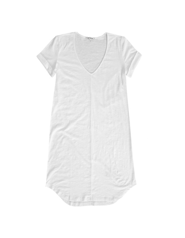 ALI GOLDEN WHITE KNIT T-SHIRT DRESS