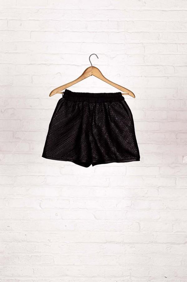 Laura Siegel Woven Leather Short