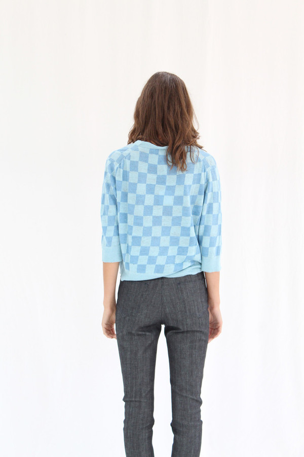 Lina Rennell 3/4 Linen Knit Cardigan Blue/Blue Check
