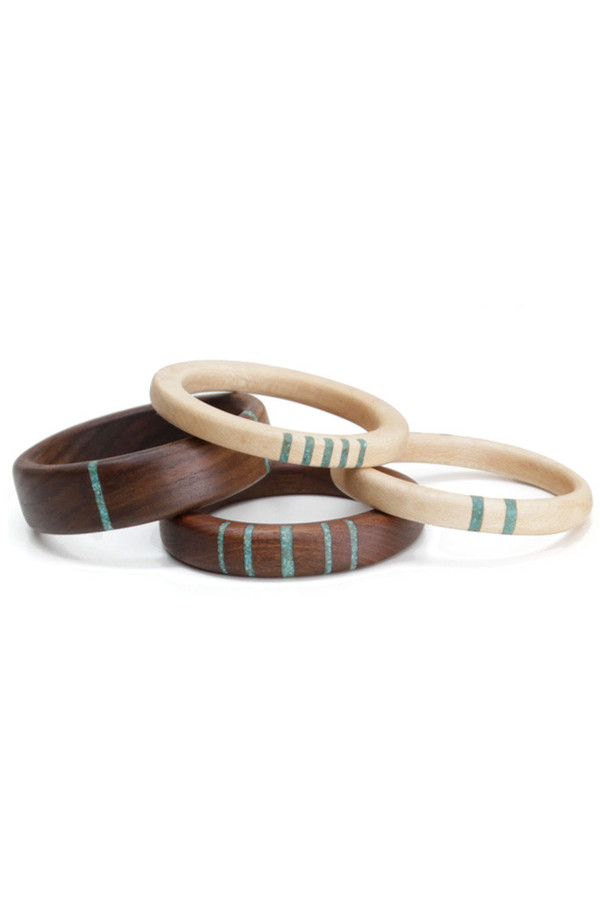Parts Per Million Oregon Walnut Four Stripe Bangle