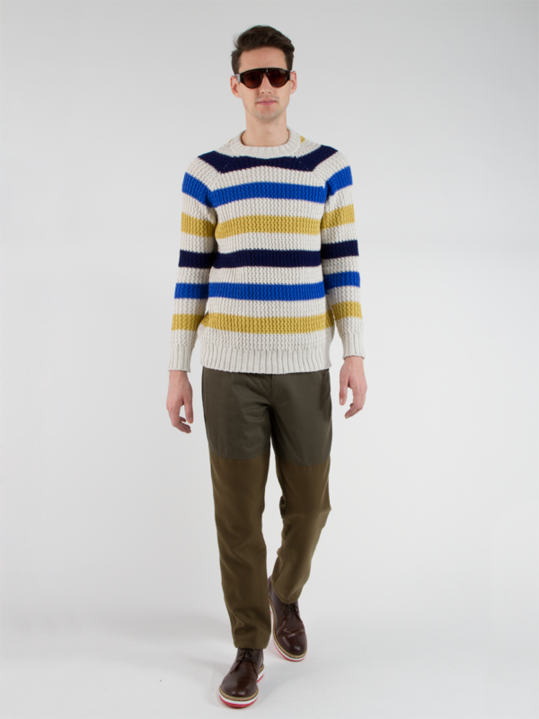 Men's Lucio Castro Striped Crew Sweater