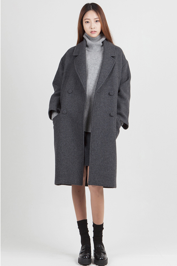 LOOKAST Oversized Long Coat- Grey