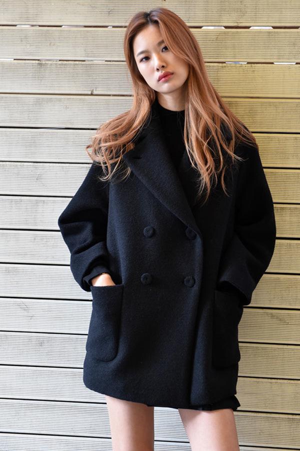 LOOKAST Black Double Breasted Wool Coat