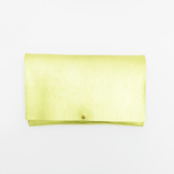 ARA Handbags - Metallic Chartreuse Foldover Clutch