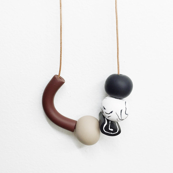 Sea + Pattern - Brown Noodle + Beige Cord Necklace