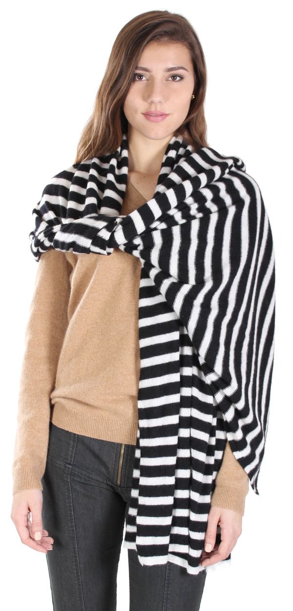 White + Warren Stripe Travel Wrap