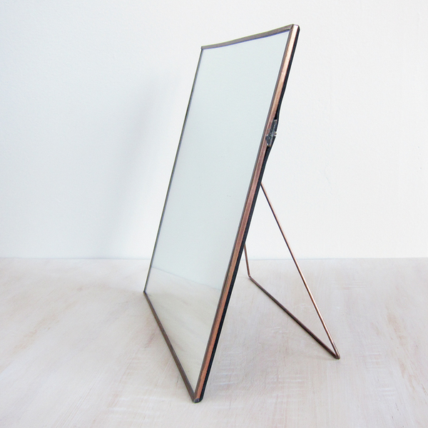 copper-framed easel mirror
