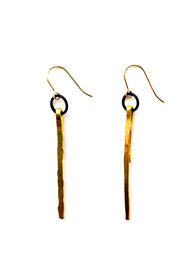 Folk Vertical Brass Single Earring