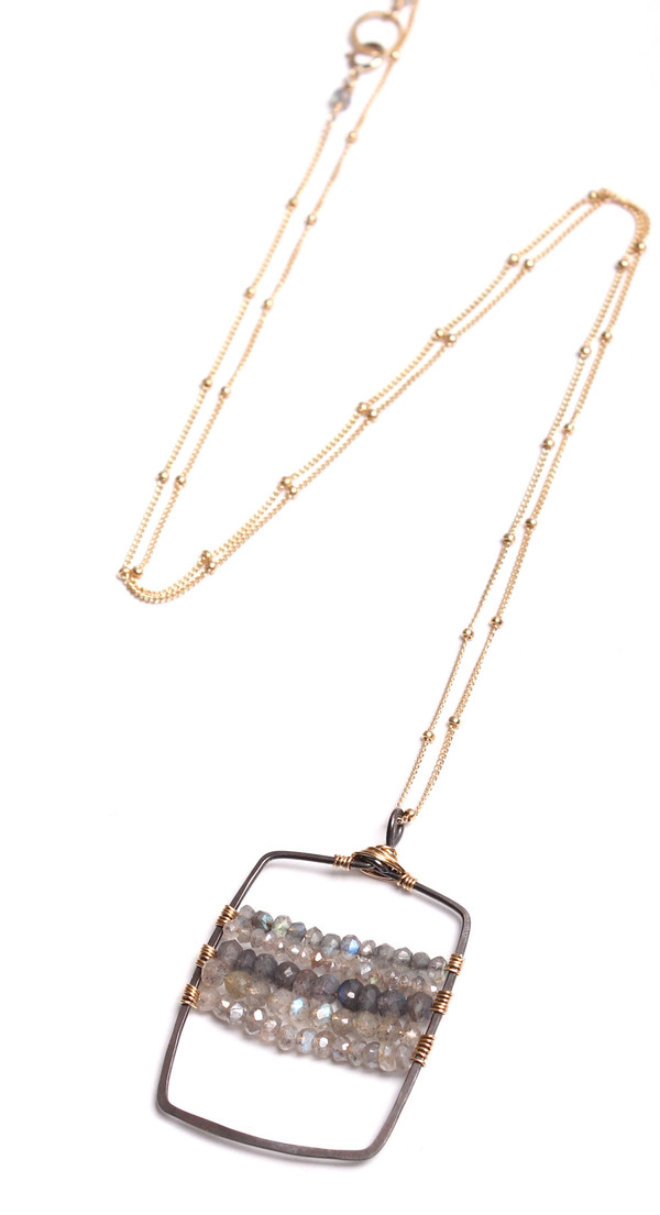Labradorite Oxidized U Bar Necklace