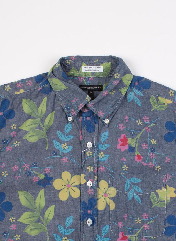19 Century BD Shirt Blue Floral Print Chambray