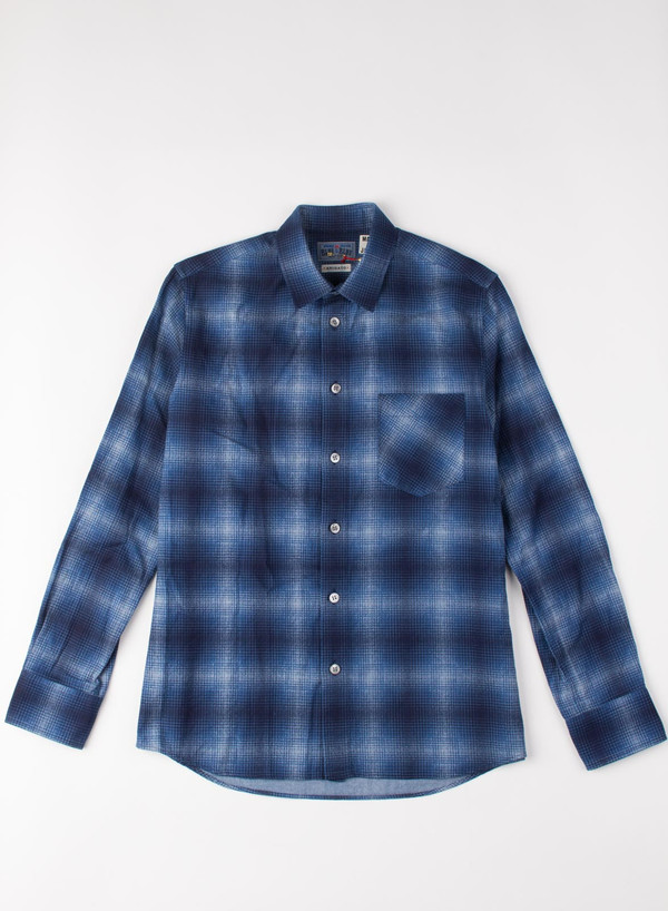 Men's Blue Blue Japan Indigo Check Flannel Over Printed Shirt