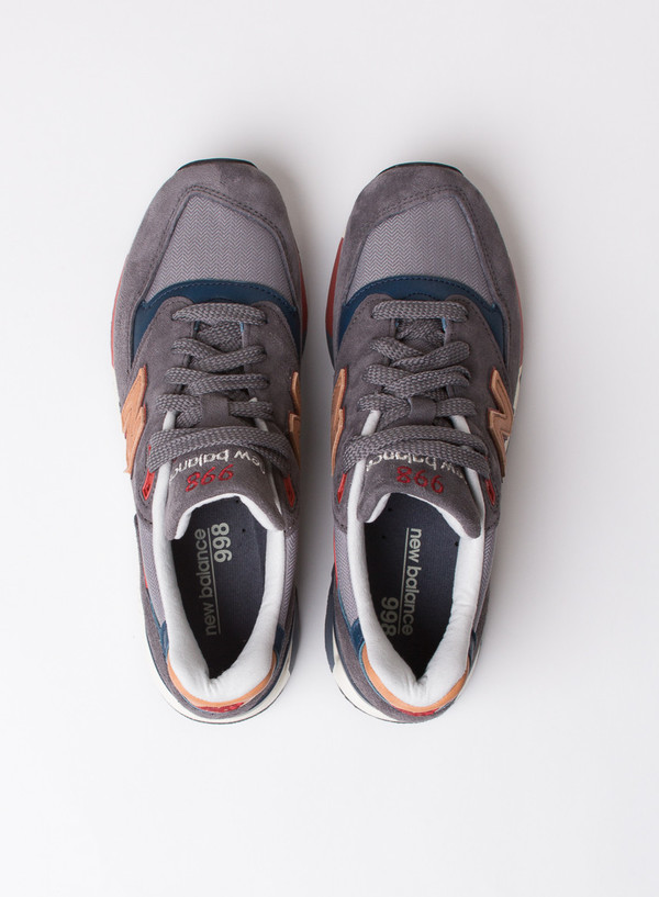 Men's New Balance M998 Dark Grey W/ Burgundy