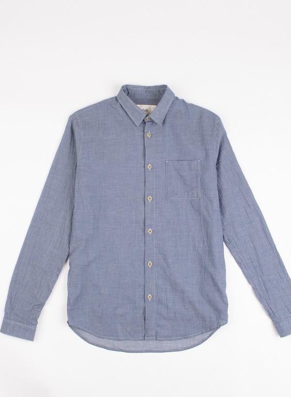 Men's Folk Tri Pocket Shirt Small Indigo Check