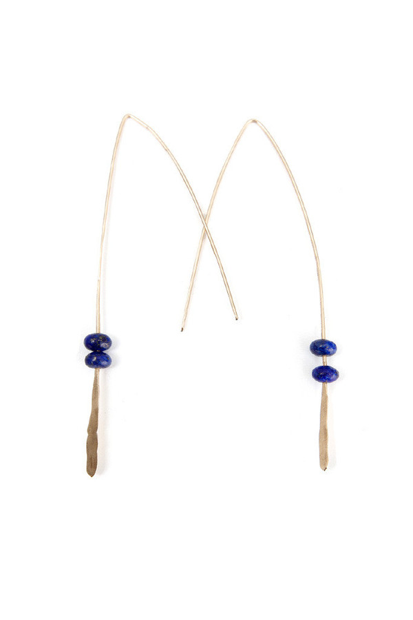 Folk Gold Lapis Earring