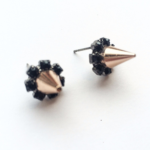 Joomi Lim Crystal Stud Earrings with Rose Gold Spikes