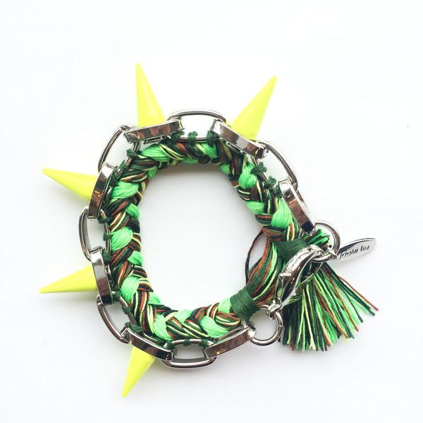 Joomi Lim Painted Spikes & Braided Cotton Bracelet