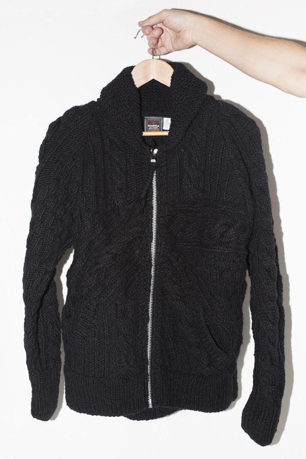 Men's Chamula Wool Crazy Zipper Cardigan- Black