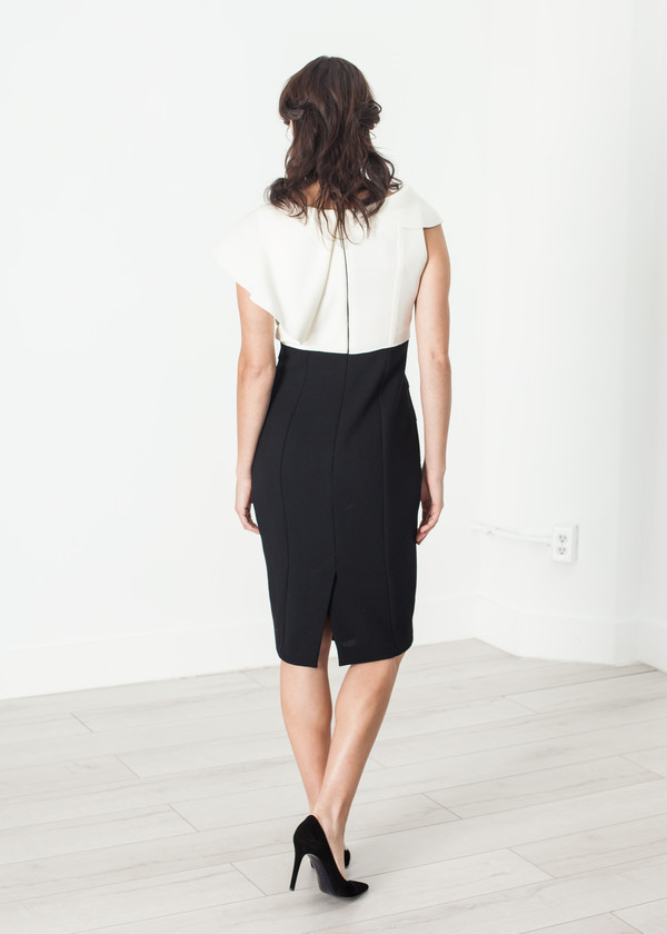 Amelia Toro Asymmetric Dress in Cream/Black