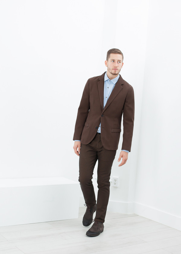 Men's Pence Diamond Weave Trouser in Brown