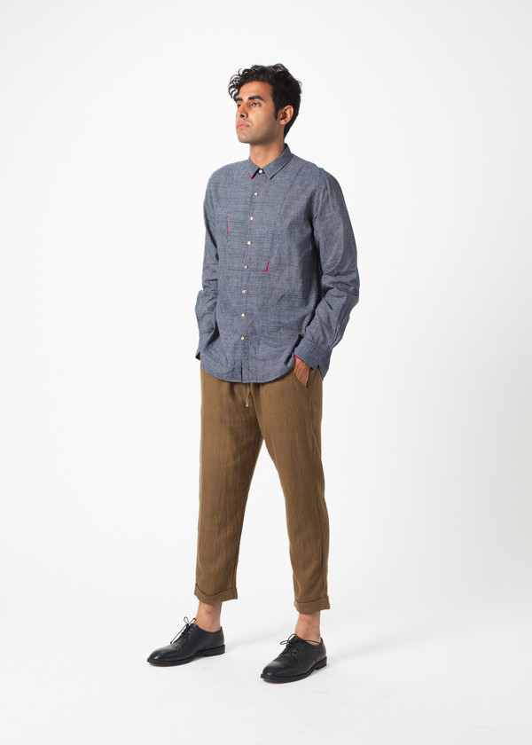 Men's Pero Fine Check Bib Shirt