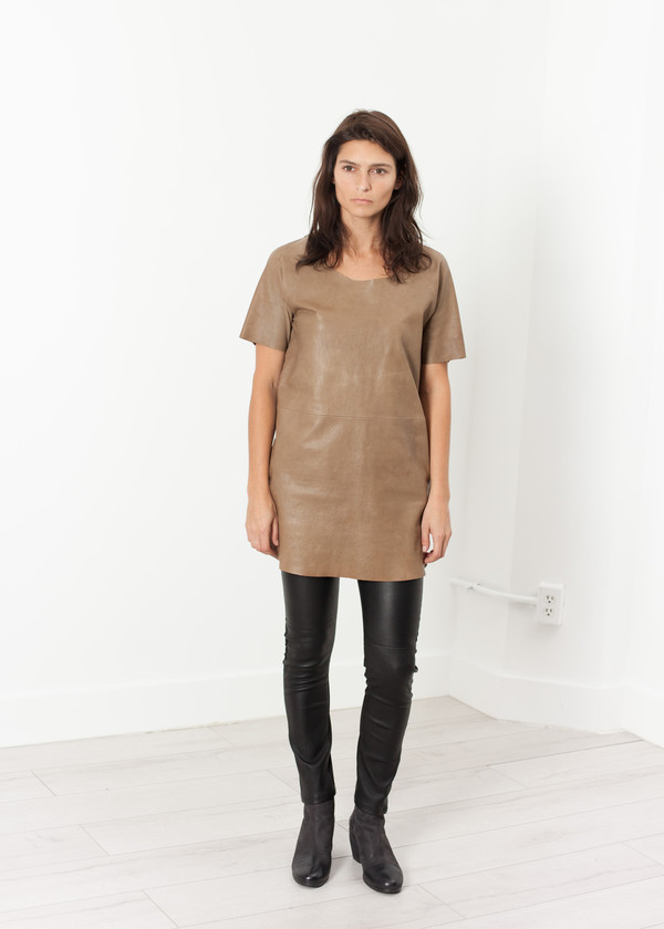 Hache Leather Front Tunic
