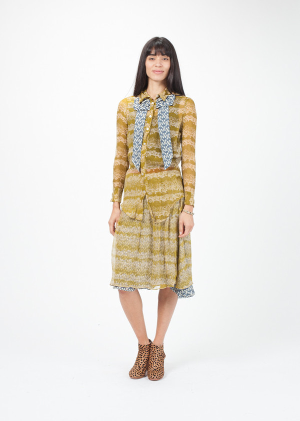 Silk Print Blouse With Skirt