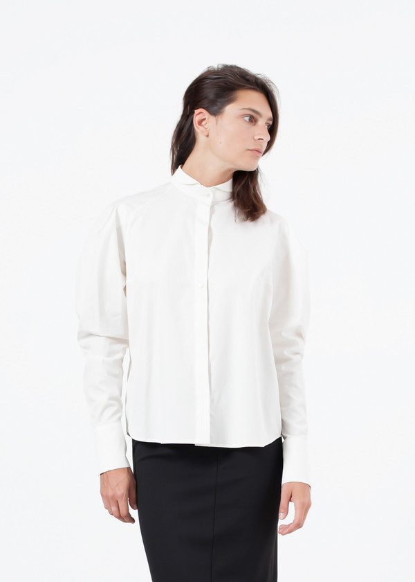Gianfranco Scotti Trim Collar Poplin Blouse in Off White