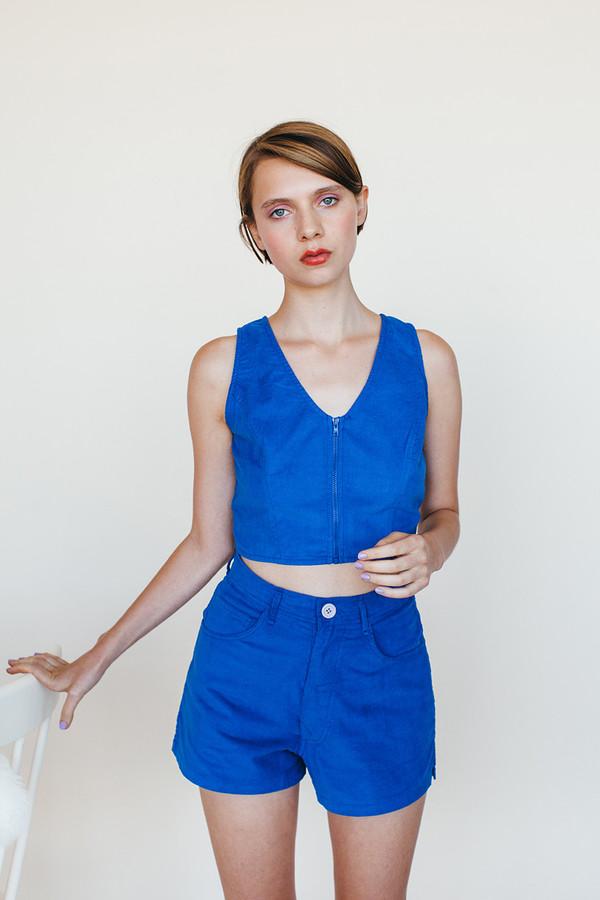Samantha Pleet Zip Tank - Blue