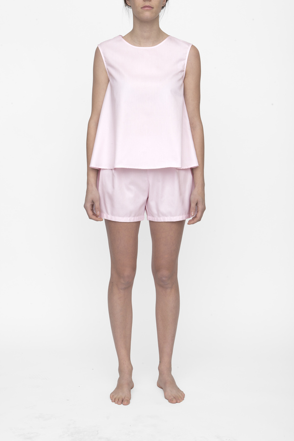 The Sleep Shirt Classic Top and Pleat Short Set Pink Royal Oxford