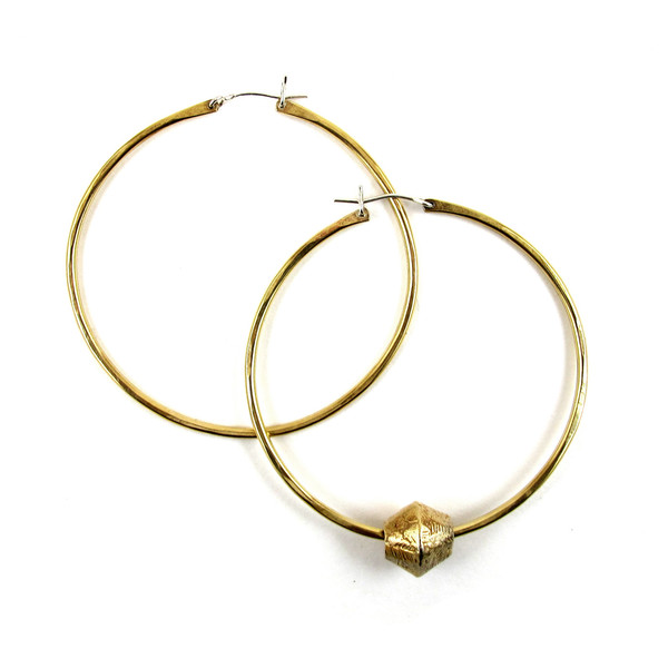Laurel Hill Channel Hoops with Carved Beads