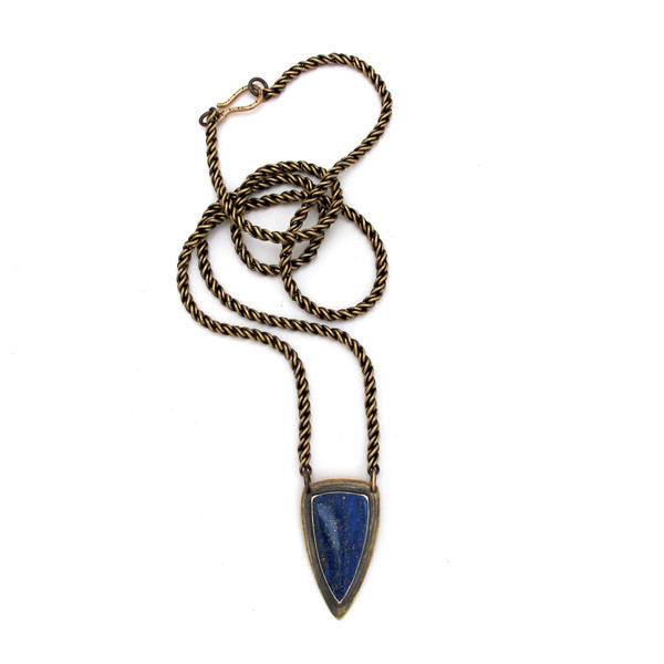 Lapis Solo Shield Necklace