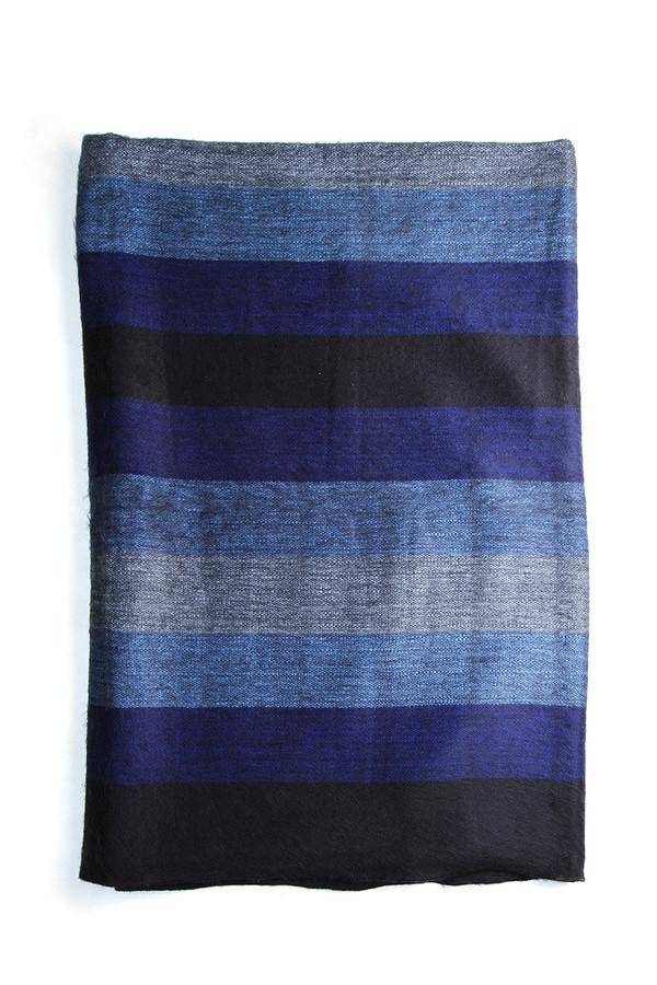 Carvieira Alpaca Wool Blanket Royal Navy Stripe