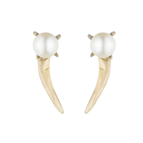 Natalie Frigo Claw and Pearl Earrings