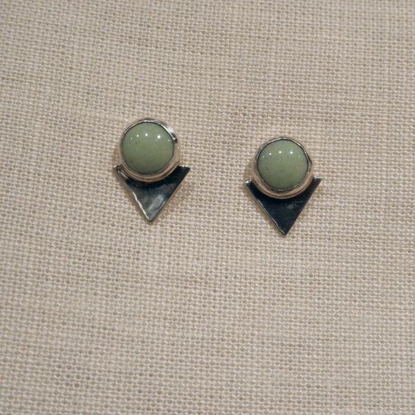 Alisha Louise Bezeled Triangle Studs in Sage