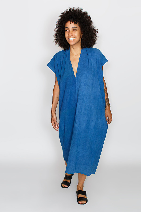 Miranda Bennett Everyday Dress, Oversized, Cotton in Indigo