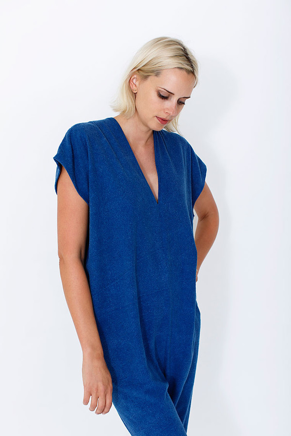 Miranda Bennett  Everyday Jumpsuit, Silk Noil in Indigo
