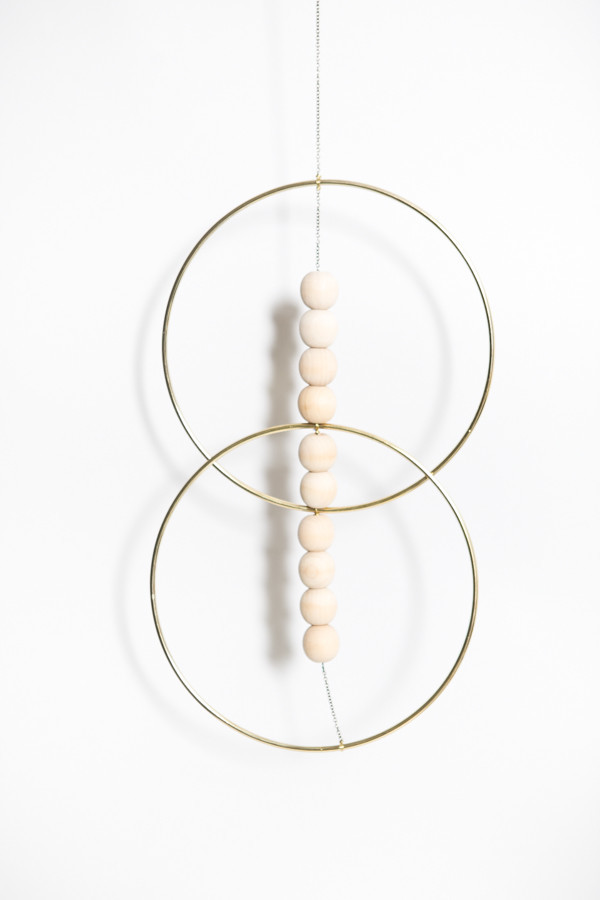 Sonadora In Love Brass and Wooden Bead Double Hoop Wall Art