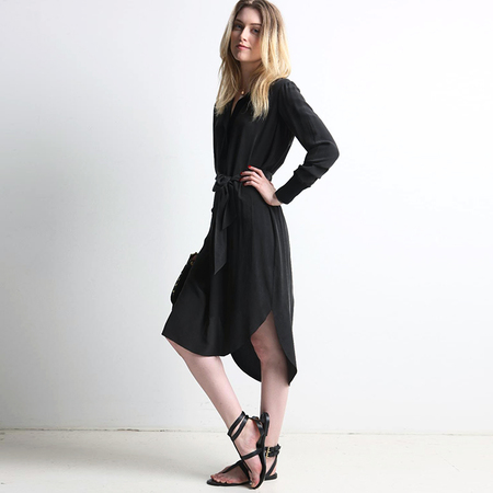 Go>Silk Go Polo dress - washed black