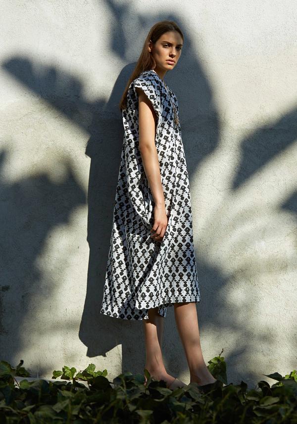 Atelier Delphine Wood Block Print Crescent Dress