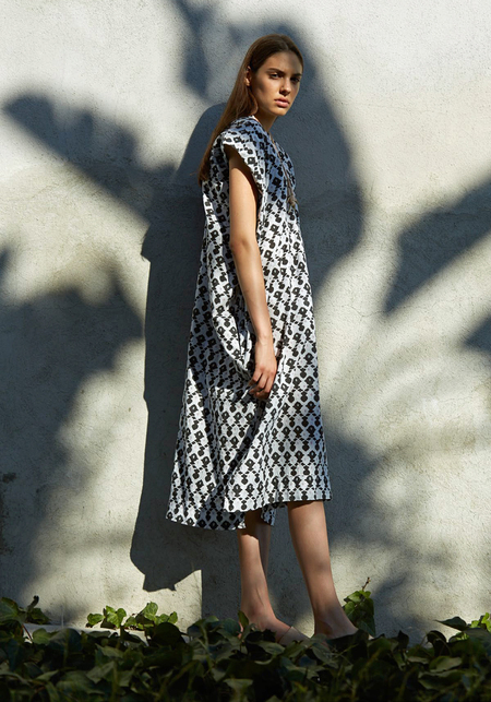 Atelier Delphine Wood Block Print Crescent Dress