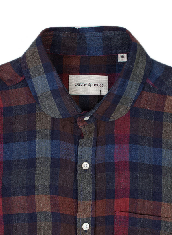 Men's Oliver Spencer S/S Eton Collar Shirt Pilford Multi