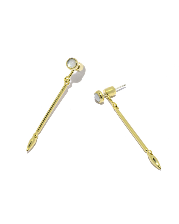 Pamela Love Pendulum Earrings in Yellow Gold with Moonstones